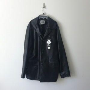 A. Collezioni faux leather jacket black